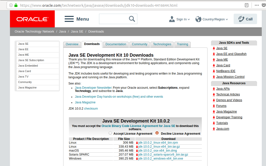 JDK 10 Download Page