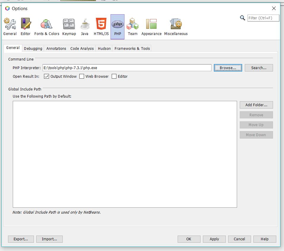 Configure PHP Interpreter