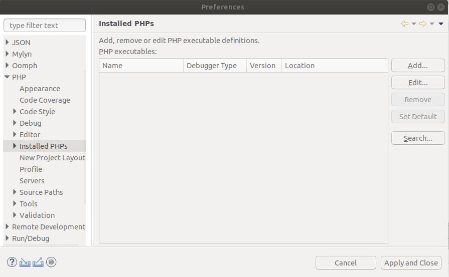 Installed PHPs
