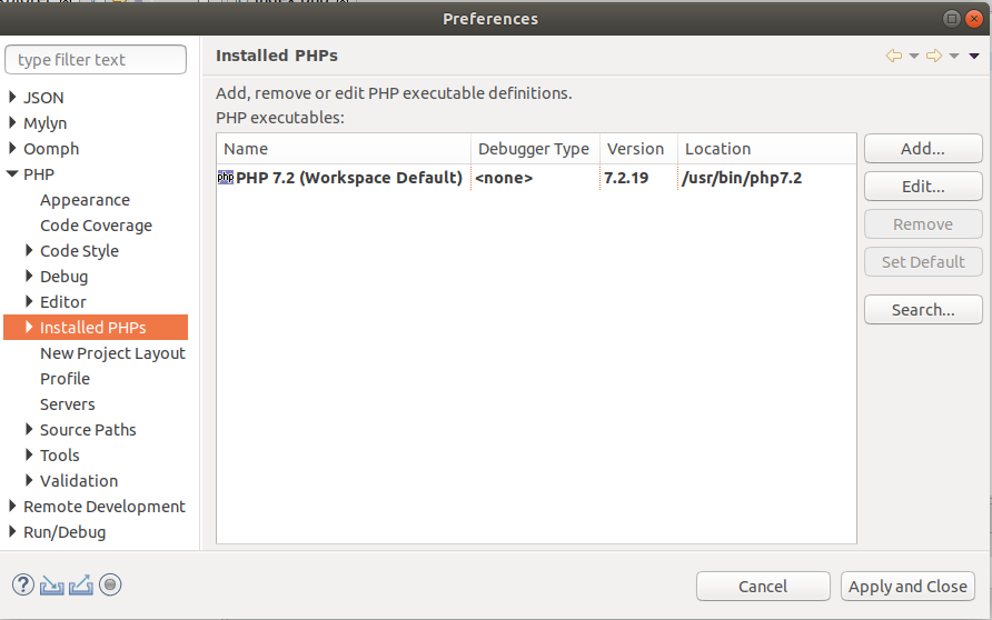 Installed PHPs with PHP 7.2