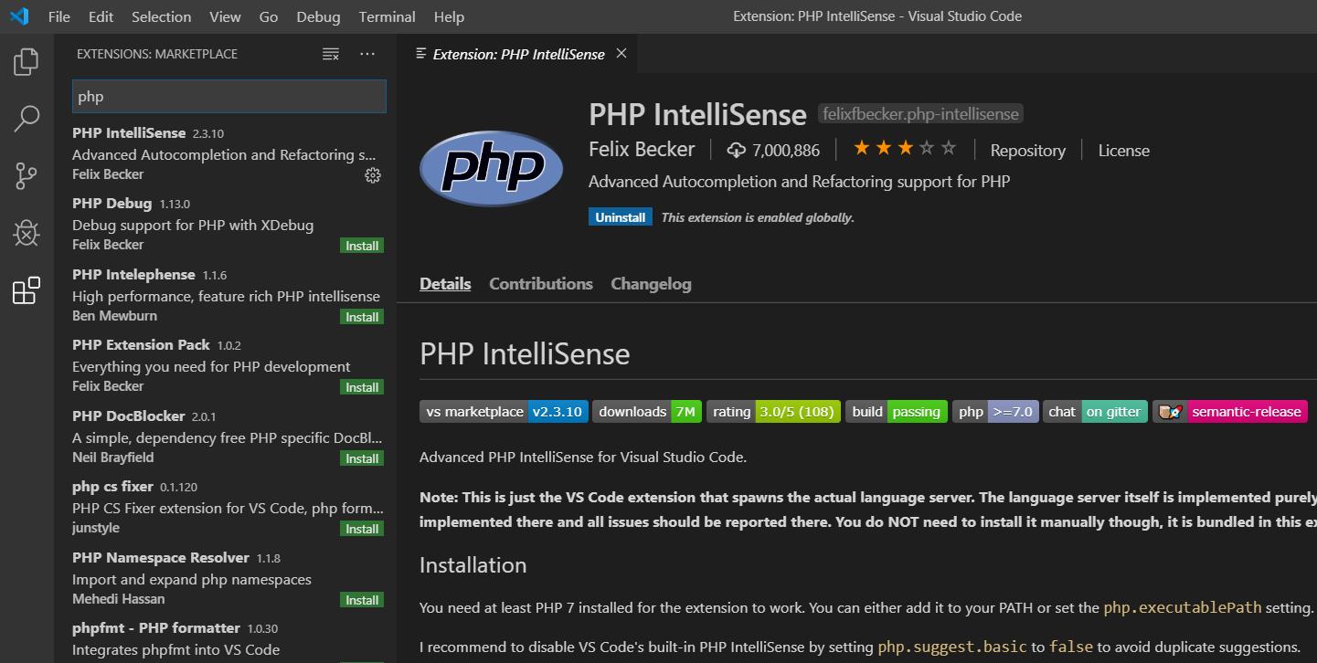 Visual Studio Code - PHPIntelliSense