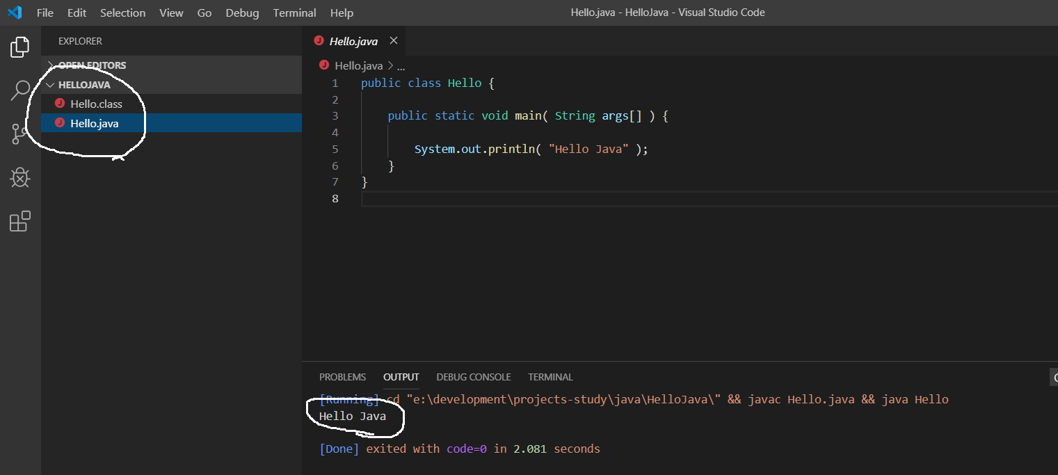Visual Studio Code - Java Output