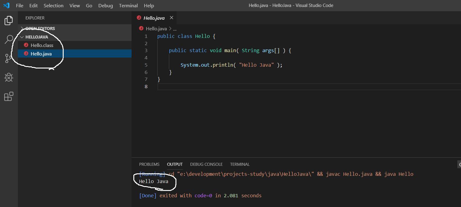 Visual Studio Code - Java Output