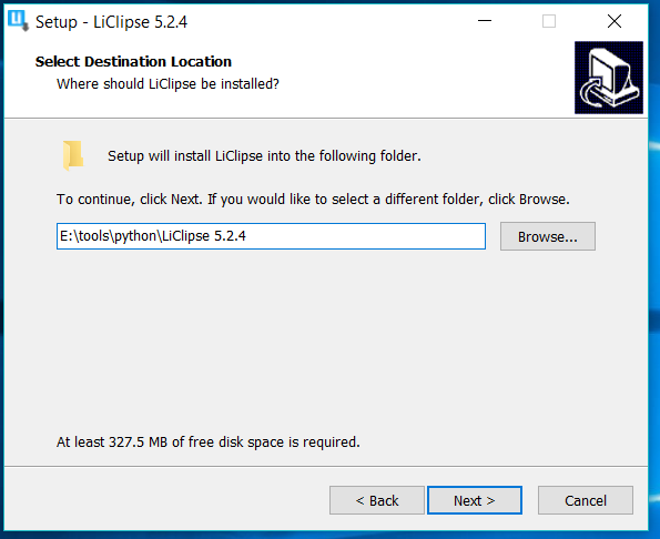 LiClipse Installation Path