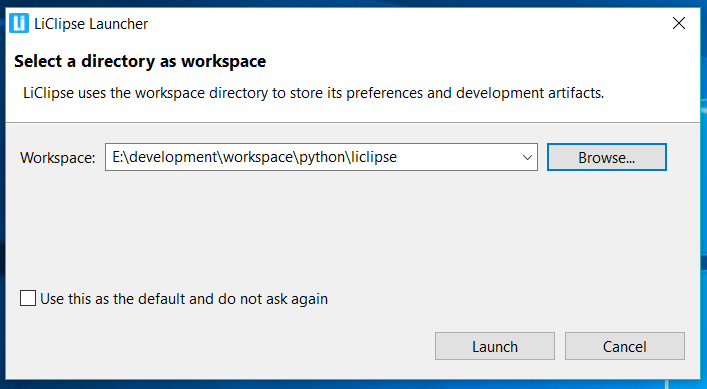 LiClipse Workspace