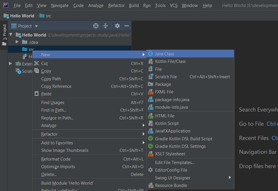 IntelliJ IDEA Create Java File