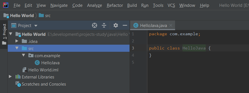 IntelliJ IDEA JAva File