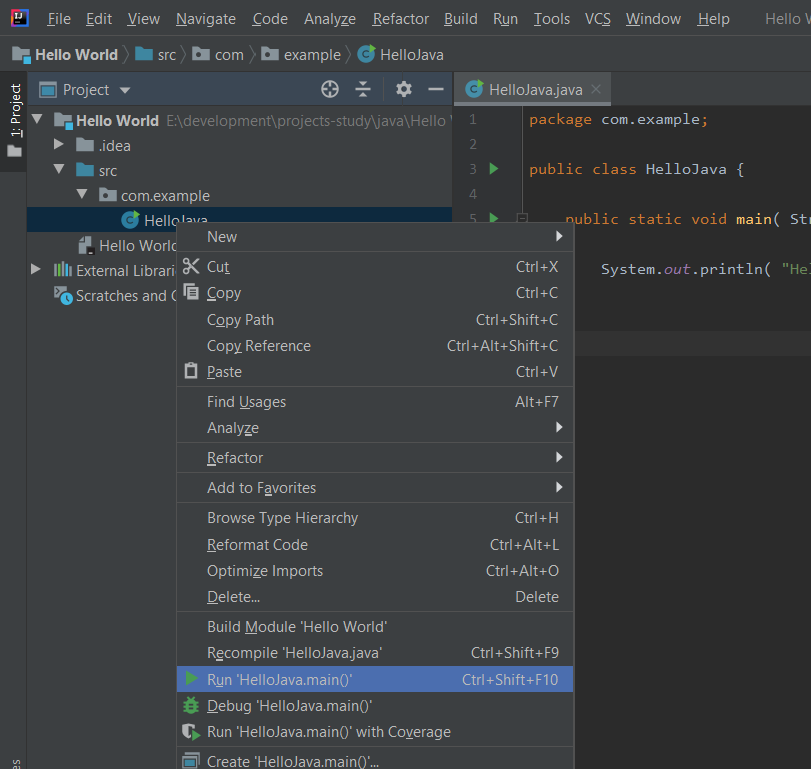 IntelliJ IDEA Run Java