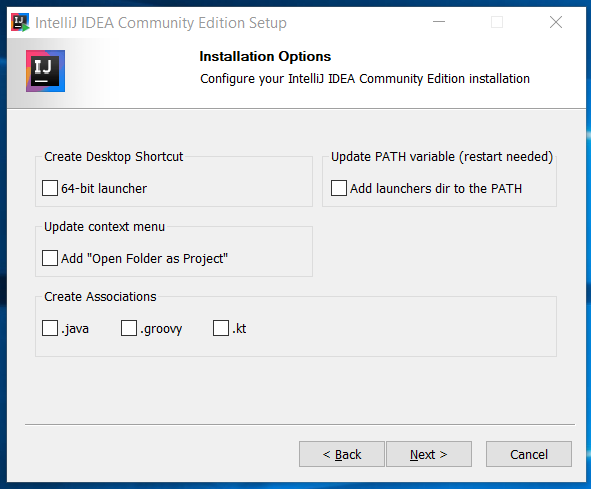 IntelliJ IDEA Installation Options