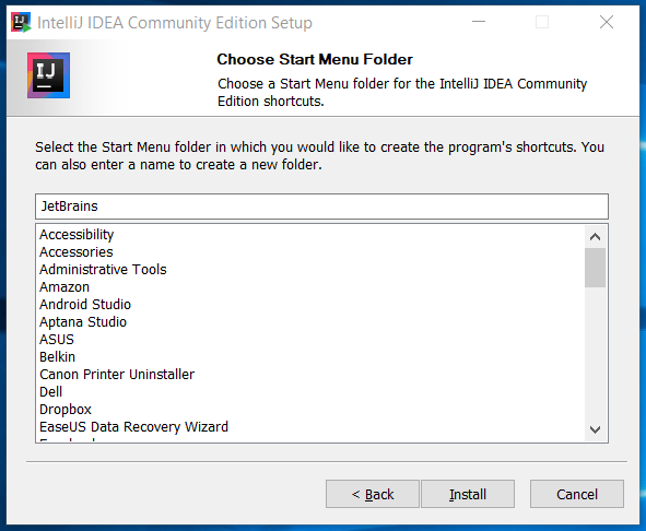 IntelliJ IDEA Start Menu Folder
