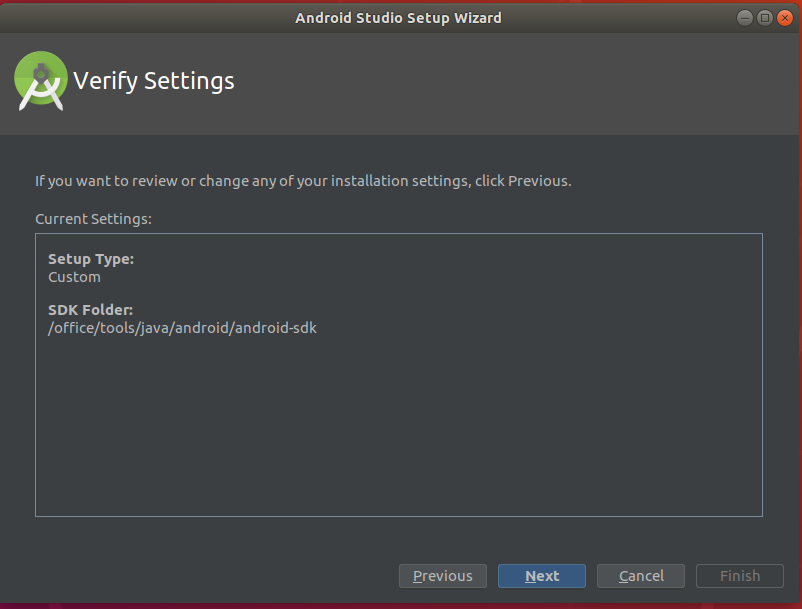 Android Studio Verify Settings