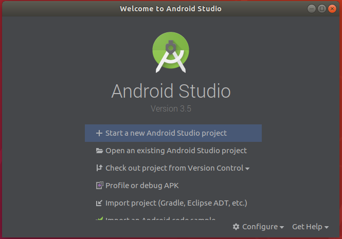 Android Studio Welcom Screen