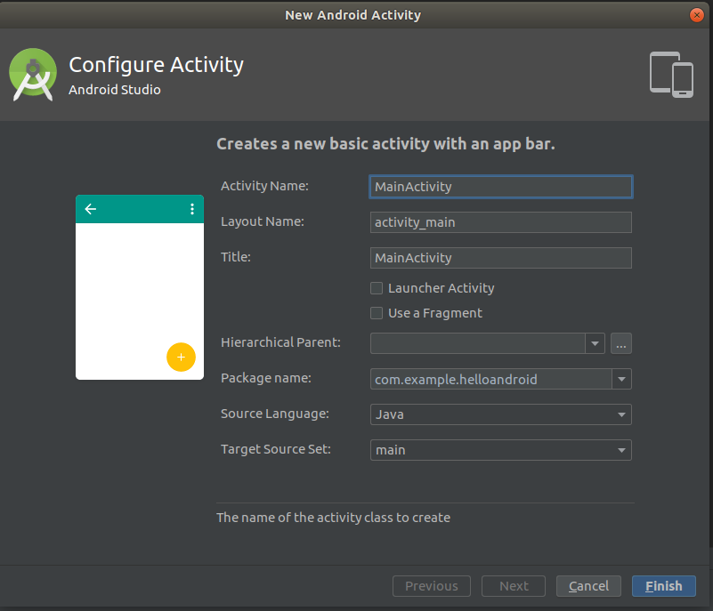 Android Studio Create Activity