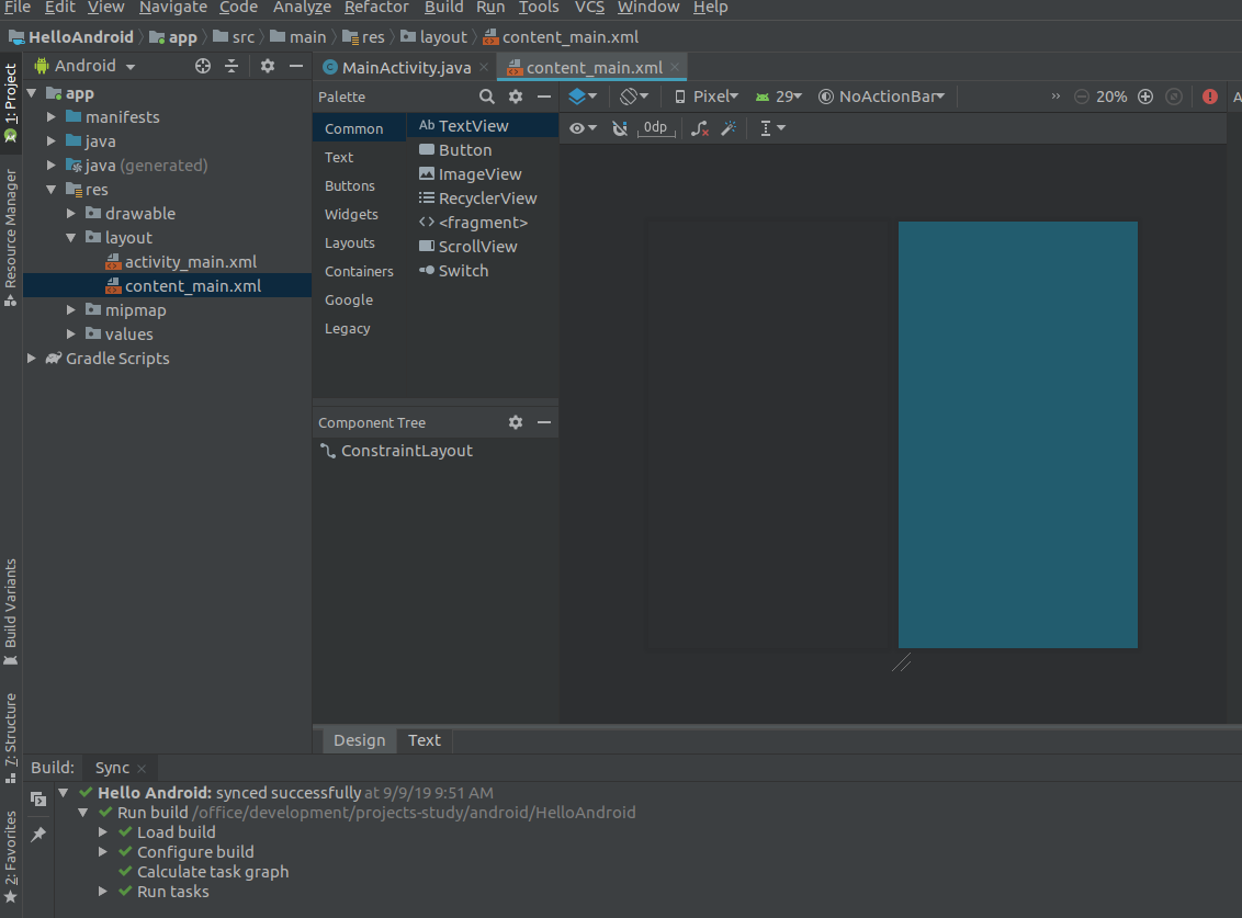 Android Studio Activity Layout