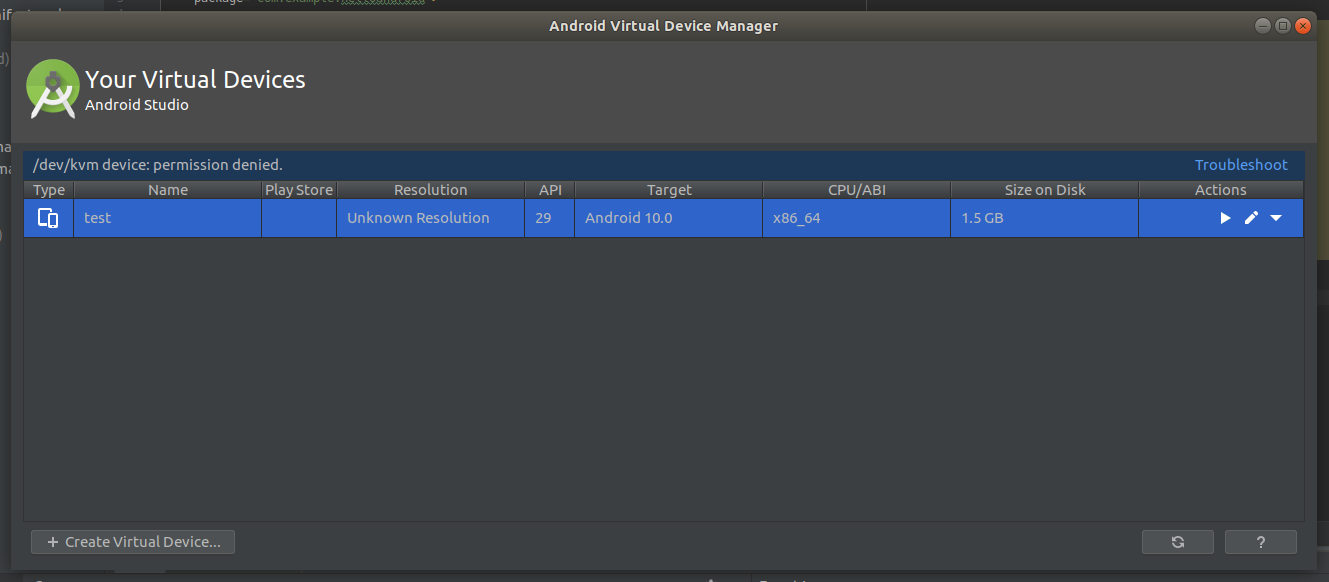 Android Studio AVD Manager