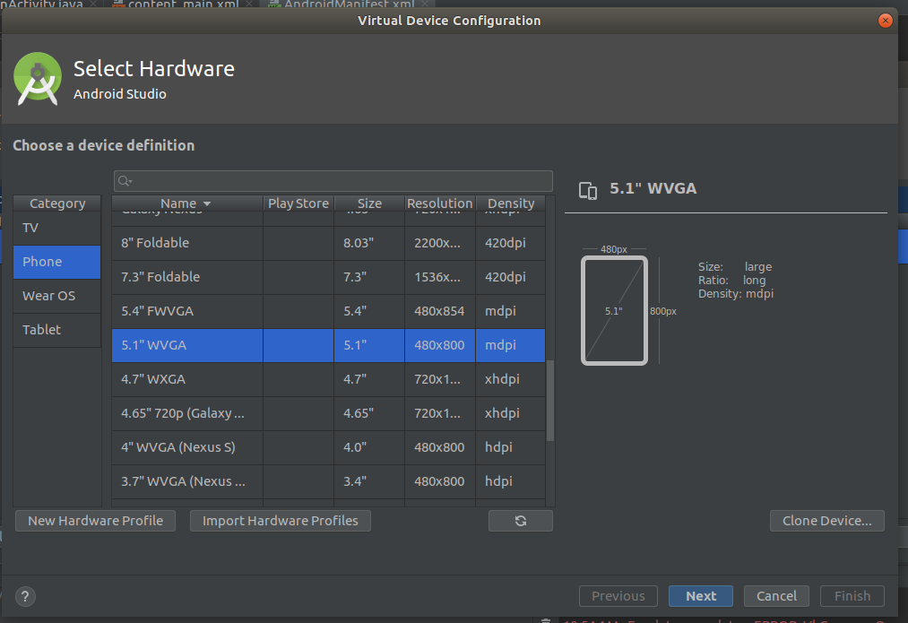 Android Studio AVD Configuration