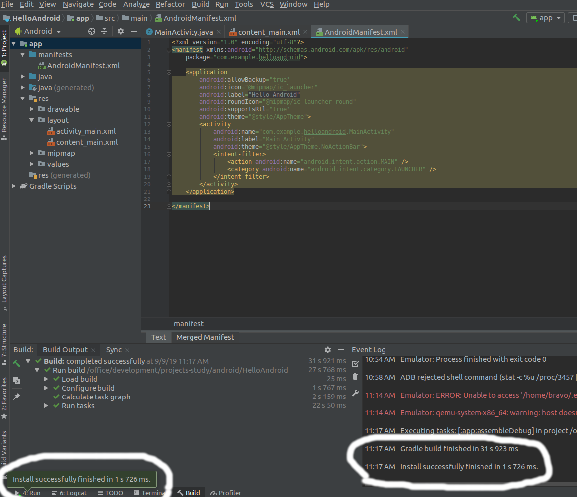 Android Studio Run App