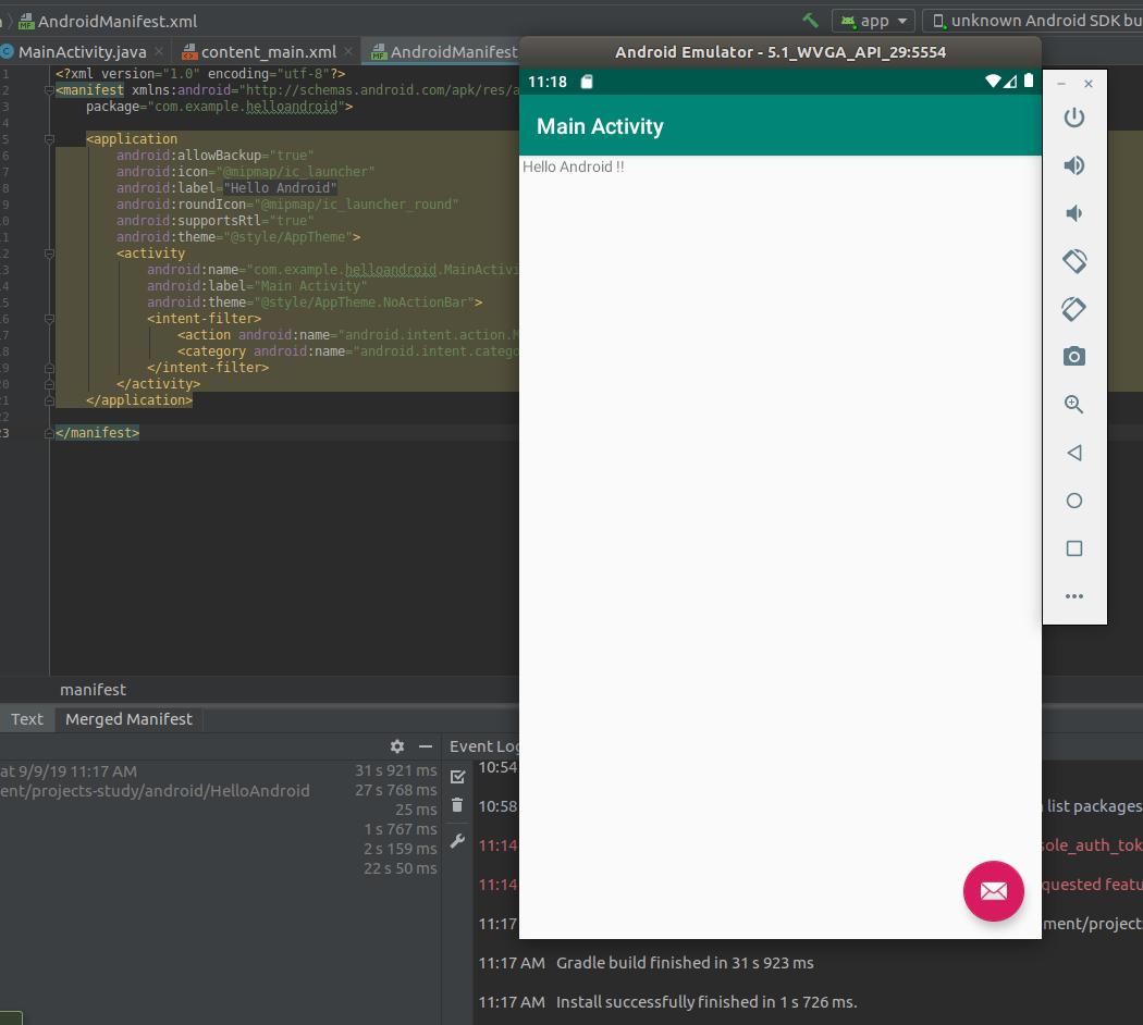 Android Studio App Home