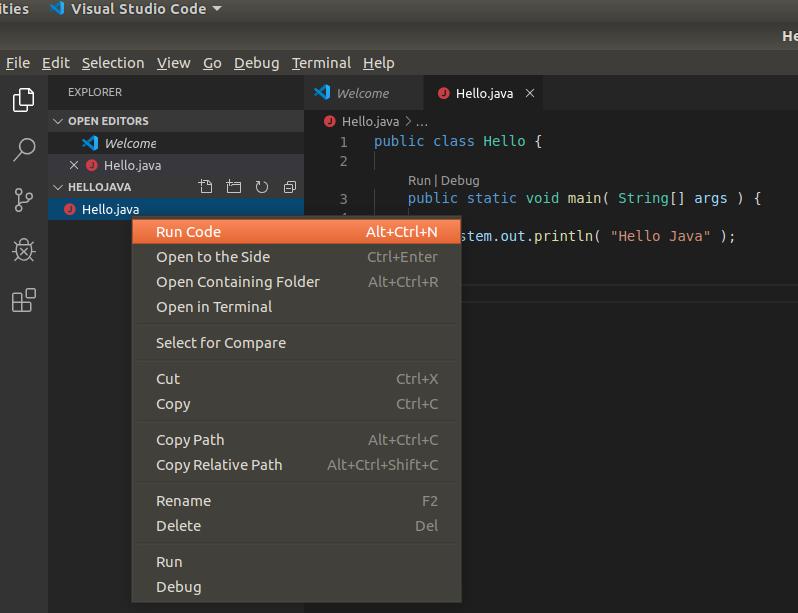 VSCode Java Run