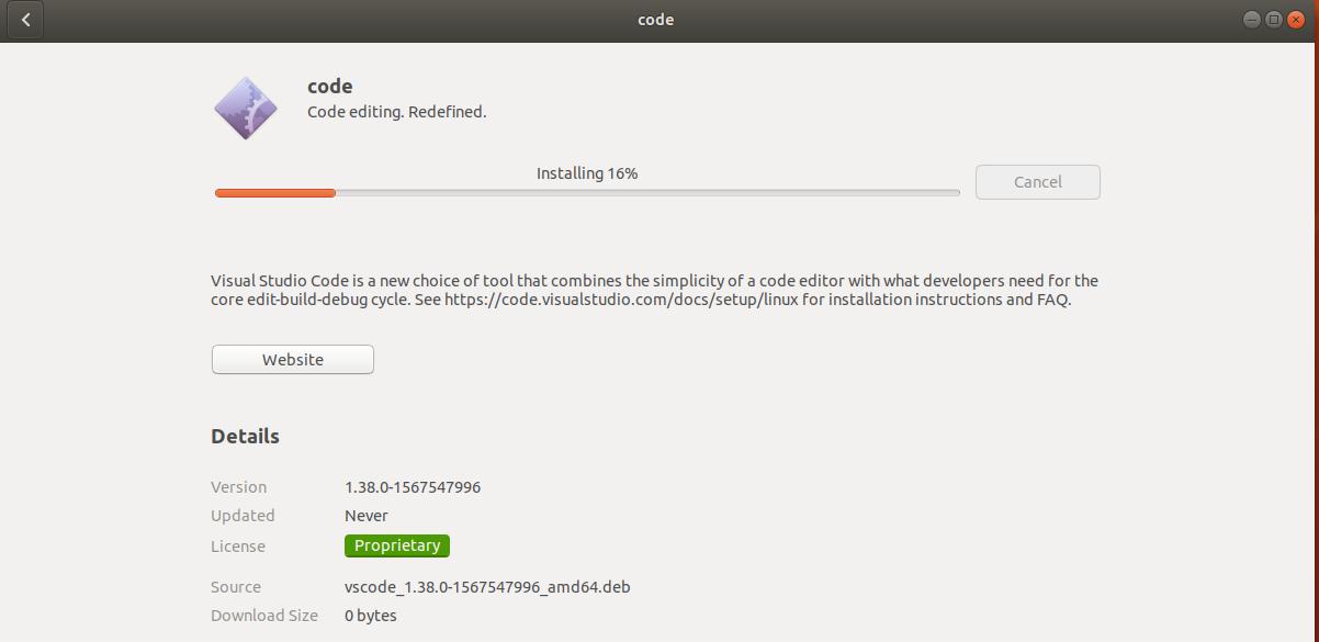 VSCode Install Progress