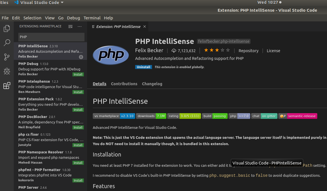 VSCode PHP Intellisense