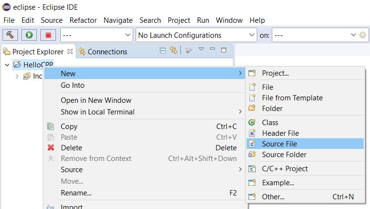 Eclipse - C/C++ - New File