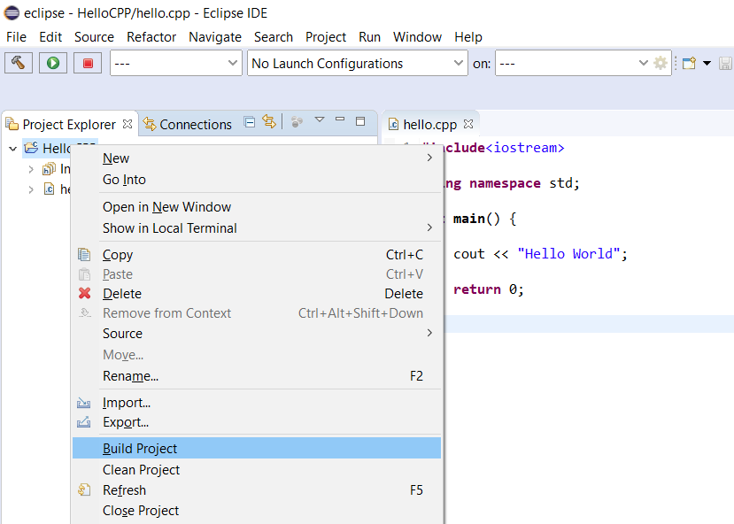 Eclipse - C/C++ - Build Project