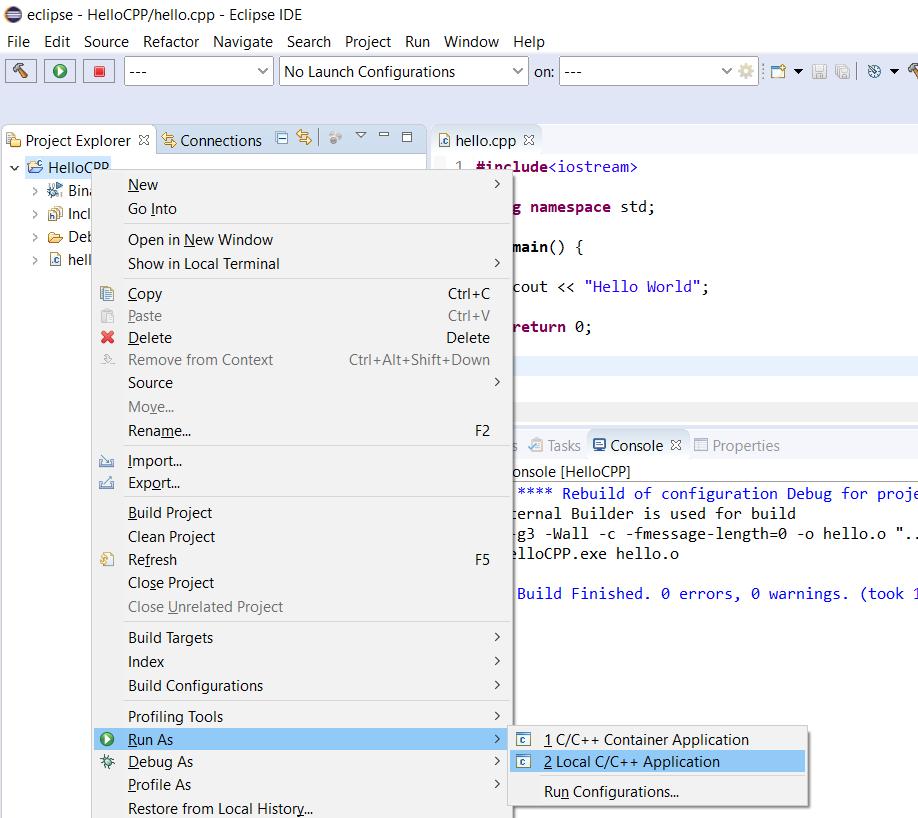 Eclipse - C/C++ - Run Project