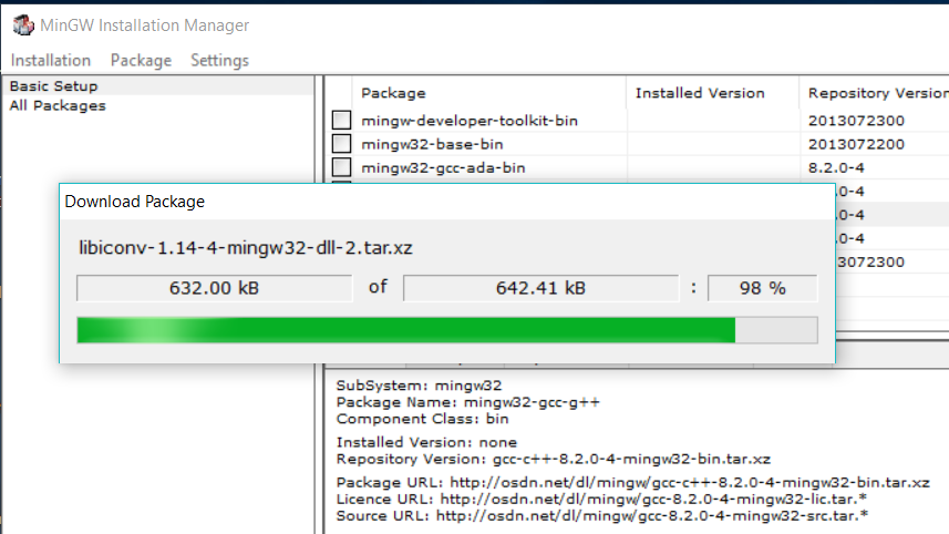 MinGW Installation Manager Progress