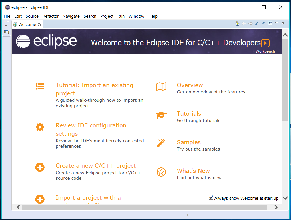 Eclipse - C/C++ - Welcome