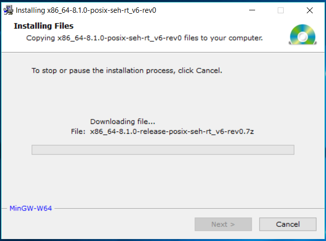 MinGW-W64 Downloading