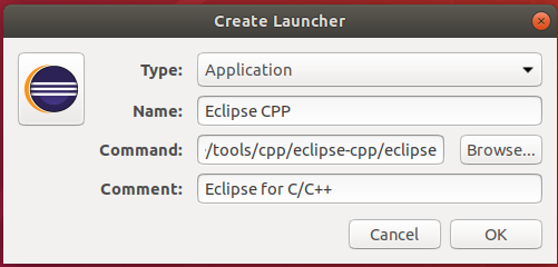 Eclipse - C/C++ - Desktop Shortcut