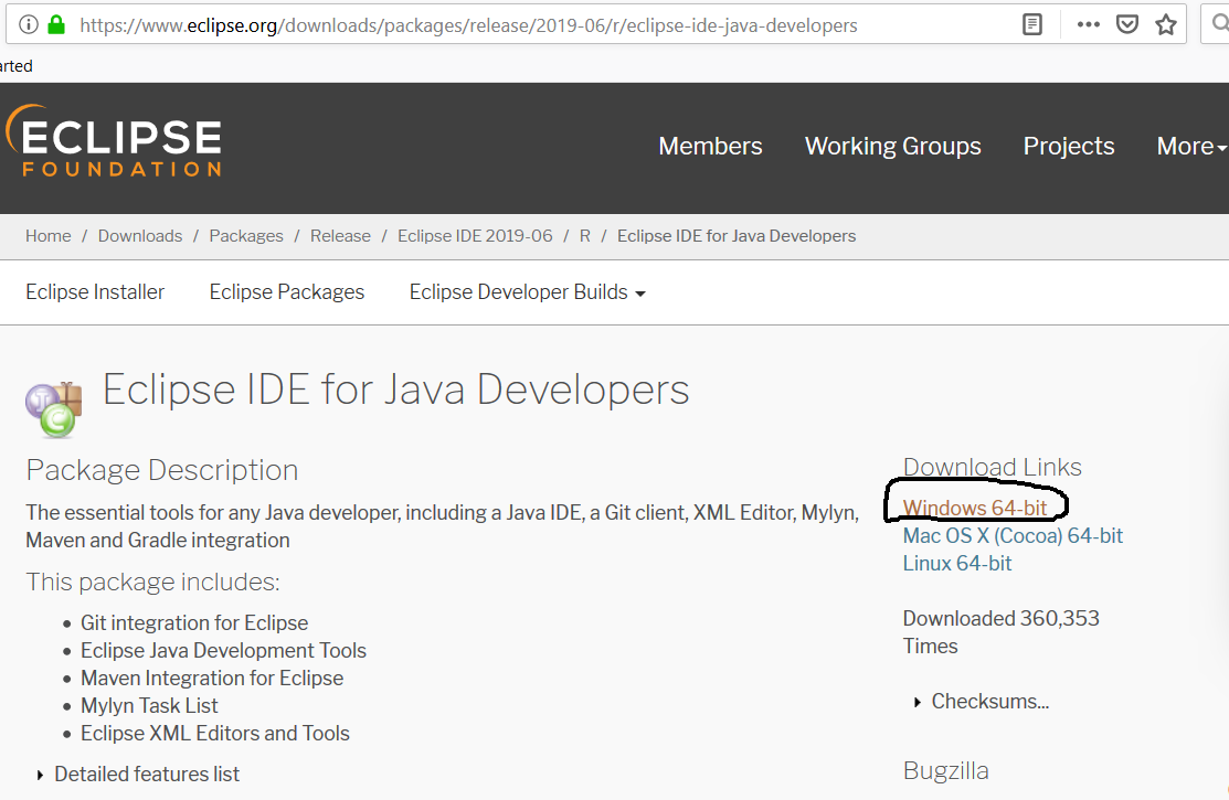 Eclipse for Java - Info