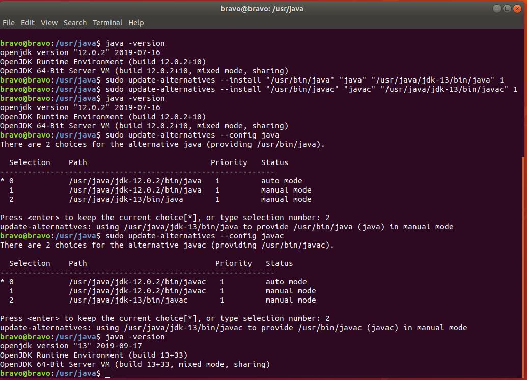 OpenJDK 13 Configure Commands