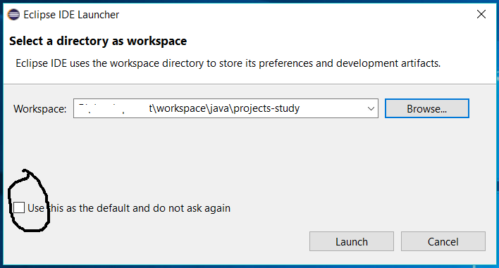Eclipse for Java - Workspace Selection