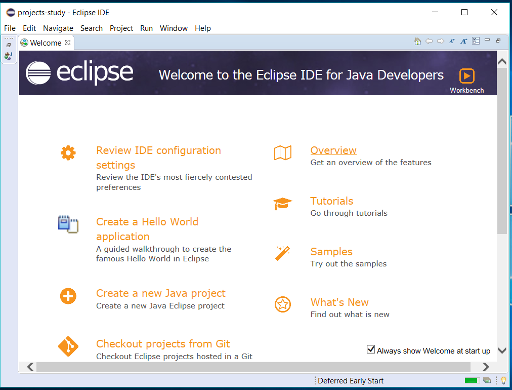 Eclipse for Java - Welcome