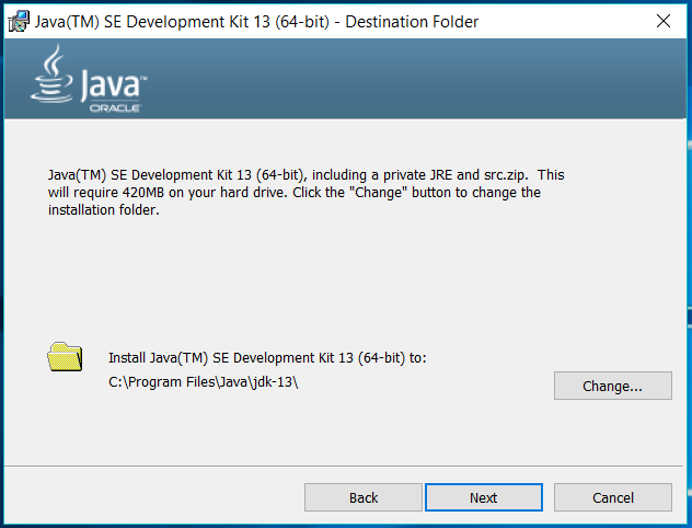 Java 13 - Windows - Location