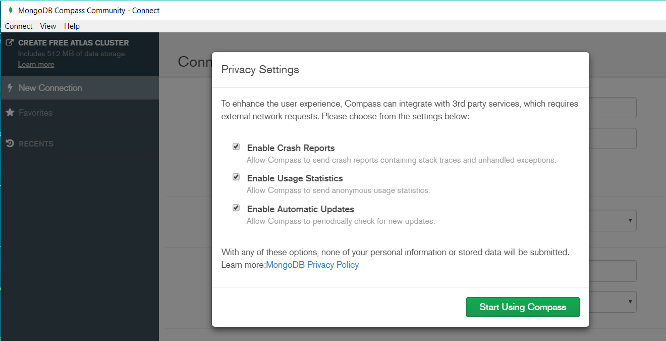 MongoDB Compass Privacy