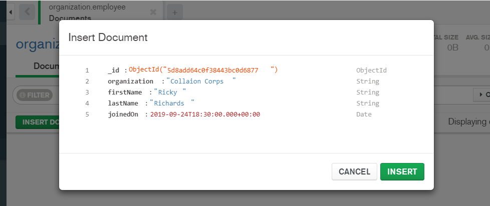 MongoDB Compass Insert