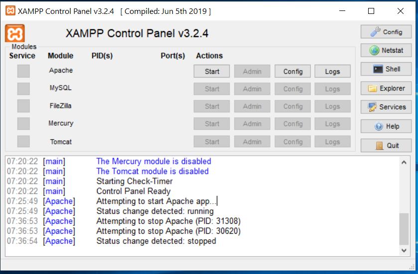 XAMPP Control Panel