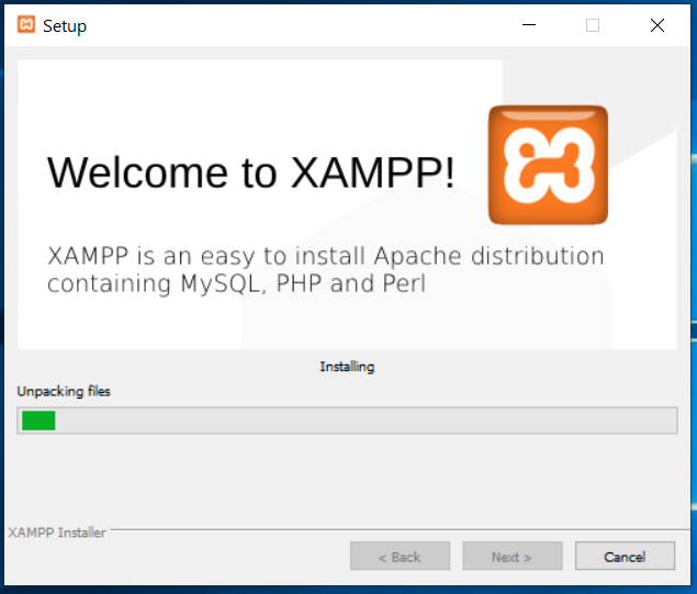 XAMPP Installation Progress