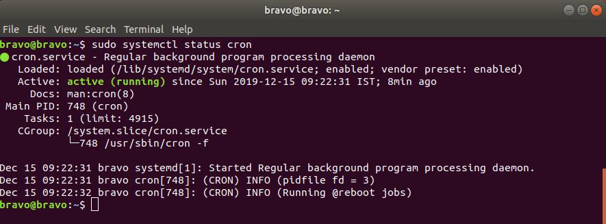 Cron Status in Ubuntu