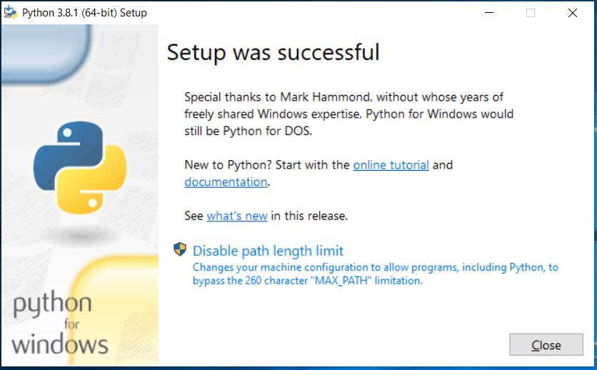 Python Installed
