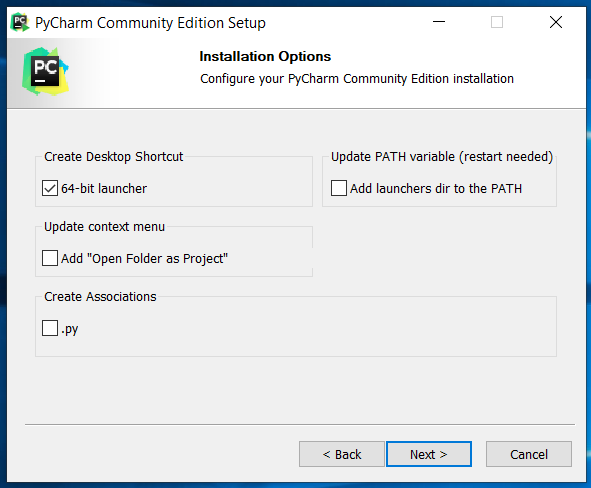 PyCharm Installation Options