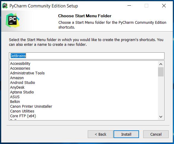 PyCharm Start Menu
