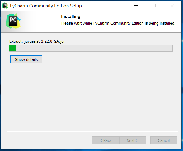PyCharm Installation Progress