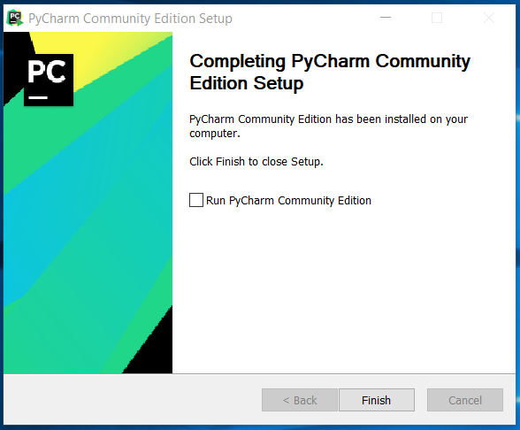 PyCharm Installation Finish