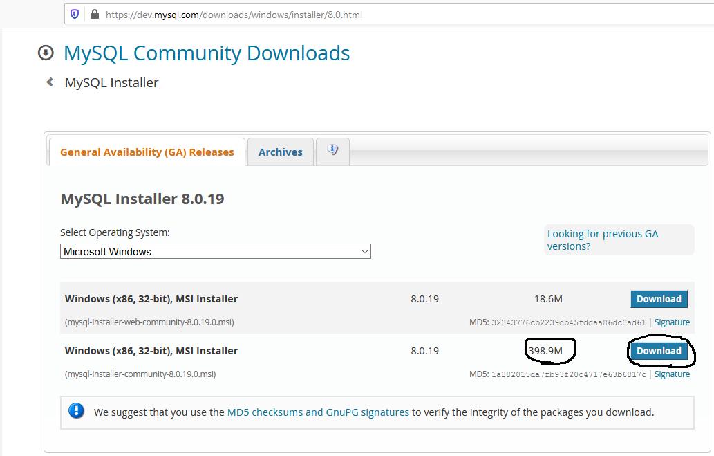 Download MySQL 8