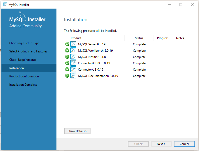 MySQL 8 Install Complete