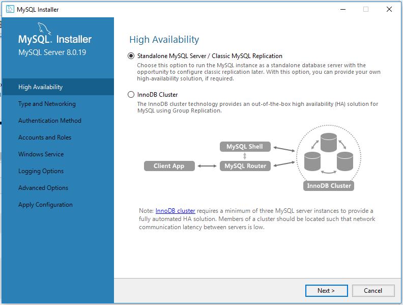 MySQL 8 Install Availability